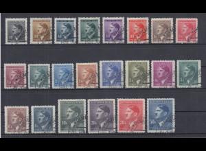 Böhmen und Mähren Hitler-Dauerserie Mi.-Nr. 89-110 kpl. alle eck-gest. OLMÜTZ