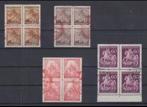 Böhmen und Mähren Mi.-Nr. 64, 67, 68, 113 je Viererblock gestempelt