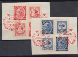 Böhmen und Mähren Mozart Mi.-Nr. 81-82 je Zusammendruck-Viererblock gestempelt