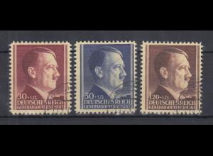 Generalgouvernement 1942 Hitler Mi.-Nr. 89-91 kpl. Satz 3 Werte gestempelt