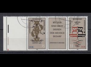DDR 1982 Buchkunstausstellung Zusammendruck m. Leerfeld links Mi.-Nr. W Zd 529L