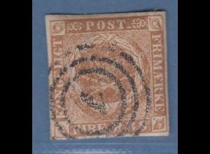 Dänemark 1854 4S rotbraun Mi.-Nr. 1II b sauber gestempelt