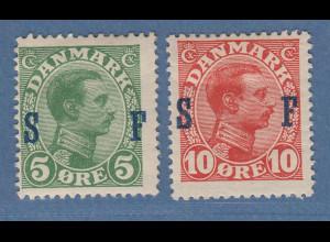 Dänemark 1917 Militärtpostmarken Mi.-Nr. 1 und 2 ungebraucht *