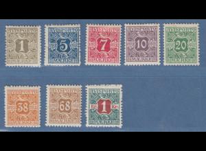 Dänemark Verrechnungsmarken Avisporto 1907 Teilsatz Mi.-Nr. 1-8 ungebraucht *