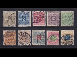 Dänemark 1907 Verrechnungsmarken AVISPORTO Mi.-Nr. 1-10 X Satz 10 Werte O