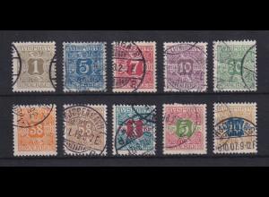 Dänemark 1907 Verrechnungsmarken AVISPORTO Mi.-Nr. 1-10 X Satz 10 Wte. O