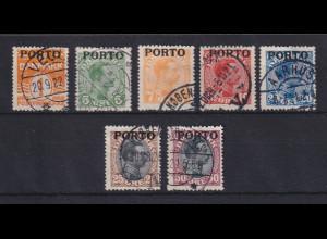 Dänemark 1921 Portomarken Mi.-Nr. 1-7 Satz kpl. gestempelt