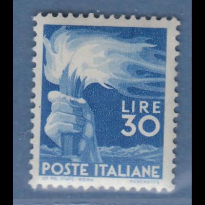 """Italien 1947 Freimarke """"Demokratie"""" Fackel 30 Lire Mi.-Nr. 702A **"""