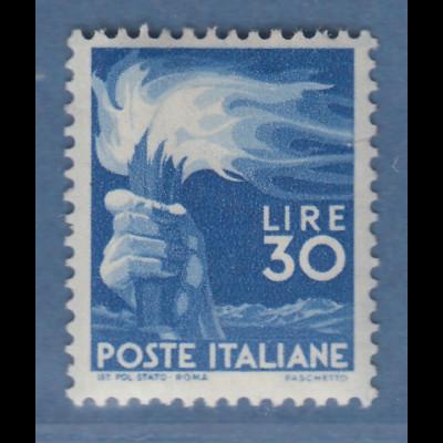Italien 1947 Freimarke Demokratie Fackel 30 Lire Mi.-Nr. 702A ** Riss rechts.