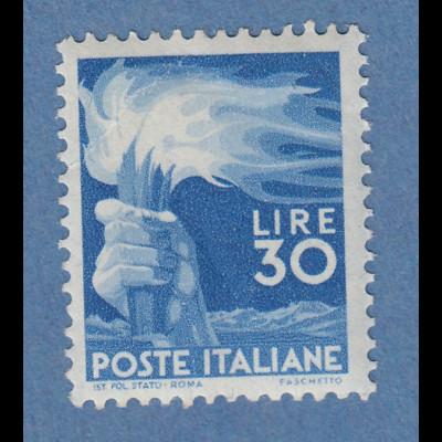 Italien 1947 Freimarke Demokratie Fackel 30 Lire Mi.-Nr. 702A ** Eckbug.