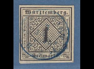 Württemberg 1851 1Kr. Mi.-Nr. 1a mit blauem Stempel, einwandfrei, mehrfach sign.