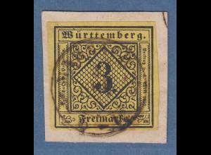 Württemberg 1851 3Kr. Mi.-Nr. 2a V mit Stempel MARBACH, einwandfrei, gepr. BPP