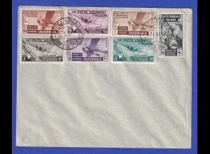 Italienische Kolonien Tripolitanien 1933 Mi.-Nr. 63-69 gest. 2.1.34 auf Kuvert