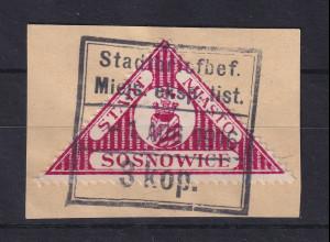 Dt. Bes. 1 WK Polen 1916 Lokalpostmarke SOSNOWICE Mi.-Nr. 5 gestempelt