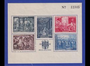 Spanien 12 Octubre 1939 HUERFANOS DE CORREOS Block Velasquez gezähnt **