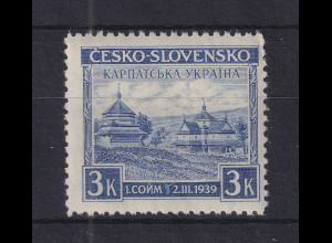 Karpaten-Ukraine 1939 Holzkirche in Jasina 3K violettblau Mi-Nr. 1 ** / MNH