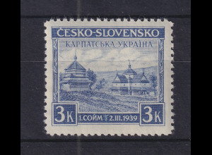 Karpaten-Ukraine 1939 Holzkirche in Jasina 3K violettblau Mi-Nr. 1 ** - MNH
