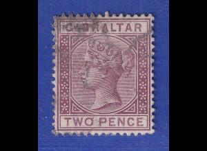Gibraltar 1886 2 P. lilakarmin Mi.-Nr. 10 gestempelt