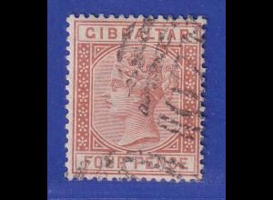 Gibraltar 1887 4 P. braunorange Mi.-Nr. 12 gestempelt