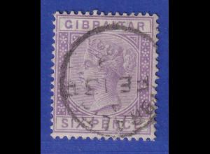 Gibraltar 1887 6 P. violett Mi.-Nr. 13 gestempelt