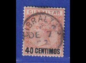 Gibraltar 1889 span. Währung 40 C braunorange Mi.-Nr. 19 gestempelt