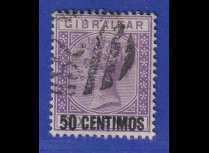 Gibraltar 1889 span. Währung 50 C violett Mi.-Nr. 20 gestempelt