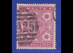 Malta 1886 Victoria und Malteserkreuze 5 Shilling Mi.-Nr. 10 gestempelt
