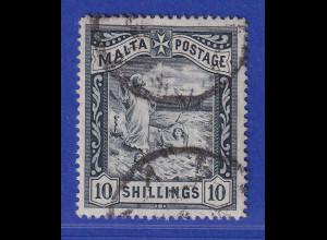 Malta 1889 Schiffbruch des Hl. Paulos 10 Shilling Mi.-Nr. 14 gestempelt
