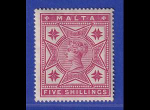 Malta 1886 Victoria und Malteserkreuze 5 Shilling Mi.-Nr. 10 ungebraucht *