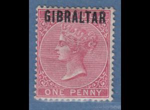Gibraltar 1886 1 P. karminrosa Mi.-Nr. 2 ungebraucht *