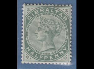 Gibraltar 1898 Victoria 1/2 P. graugrün Mi.-Nr. 8b ungebraucht *