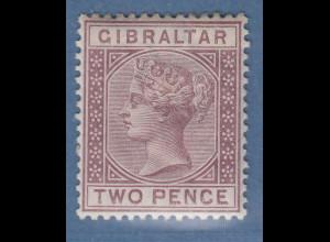 Gibraltar 1886 Victoria 2 P. lilabraun Mi.-Nr. 10 ungebraucht *