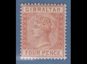 Gibraltar 1887 Victoria 4 P. braunorange Mi.-Nr. 12ungebraucht *