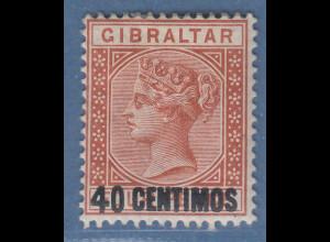 Gibraltar 1889 Victoria Aufdruck 40 C. braunorange Mi.-Nr. 19 ungebraucht *