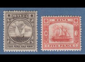 Malta 1889 Freimarken Schiffe Mi.-Nr. 11-12 kpl. Satz 2 Werte *