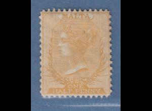 Malta 1878 Freimarke Viktoria 1/2 P. braunorange Mi.-Nr. 2C ungebr. *