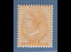 Malta 1882 Freimarke Viktoria 1/2 P. gelborange Mi.-Nr. 3a ungebr. *