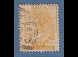 Malta 1882 Freimarke Viktoria 1/2 P. gelborange Mi.-Nr. 3a gestempelt