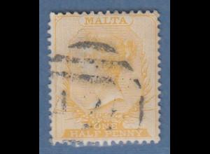 Malta 1863 Freimarke Viktoria 1/2 P. gelborange Mi.-Nr. 2B gestempelt