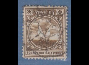 Malta 1905 Freimarke Gozo-Fischerboot Mi.-Nr. 30 gestempelt