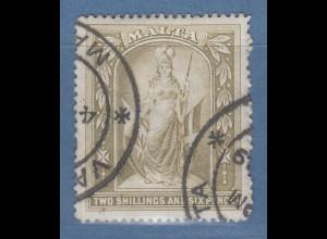 Malta 1899 Freimarke Schutzpatronin grauoliv, Wz. 1 Mi.-Nr. 13 gestempelt