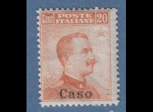 Ägäische Inseln Caso 20 Cent braunorange OHNE Wz. Mi.-Nr. 11 II *