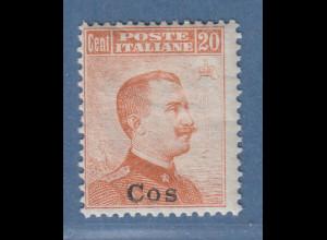 Ägäische Inseln Cos 20 Cent braunorange OHNE Wz. Mi.-Nr. 11 III *