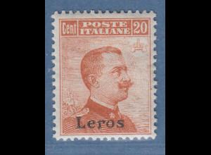 Ägäische Inseln Leros 20 Cent braunorange OHNE Wz. Mi.-Nr. 11 V *