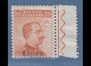 Ägäische Inseln Lipso 20 Cent braunorange OHNE Wz. Mi.-Nr. 11 VI *
