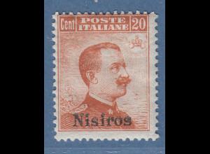 Ägäische Inseln Nisiros 20 Cent braunorange OHNE Wz. Mi.-Nr. 11 VII *
