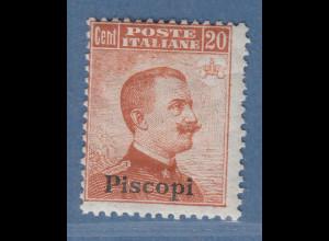 Ägäische Inseln Piscopi 20 Cent braunorange OHNE Wz. Mi.-Nr. 11 IX *