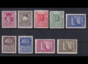 Ägäische Inseln ital. Besetzung Freimarken RODI Ausgabe 1929 Mi.-Nr. 17-25 *