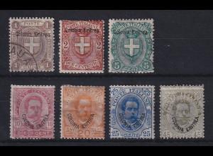 Italienisch-Eritrea 1897-98 Freimarken Wappen und König Umberto Mi.-Nr. 12-18