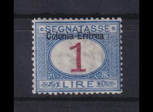 Italienisch-Eritrea 1903 Portomarke Aufdruck oben 1 Lire Mi.-Nr. 8 I ungebr. *